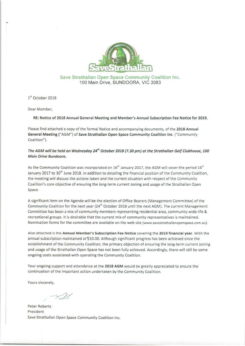 President's Letter for 2018 AGM